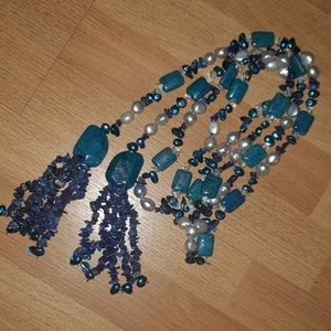 """Jewelry - 64"""" semi precious gemstone wrap necklace handmade"""